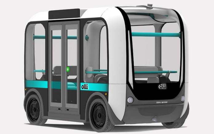 This 3D printed bus is known as Olli, and is already on the streets of Washington, DC. Photo courtesy Local Motors.