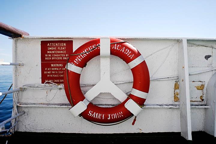 Life preserver on board Princess of Acadia.