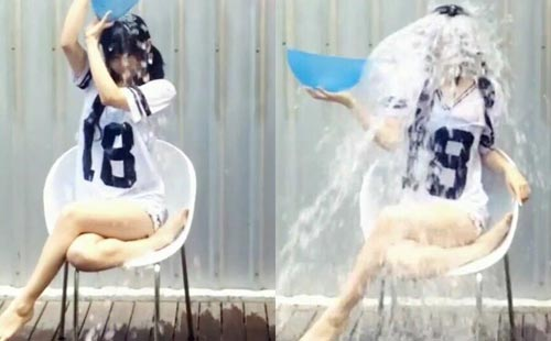Japanese girl does the ALS Ice Bucket Challenge outside