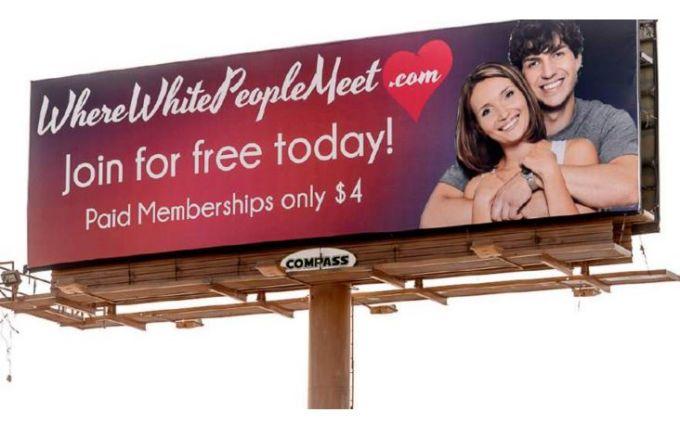 Where White People Meet website Billboards in Utah