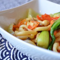 Udon Stir Fry with Bok Choy and Vegetables