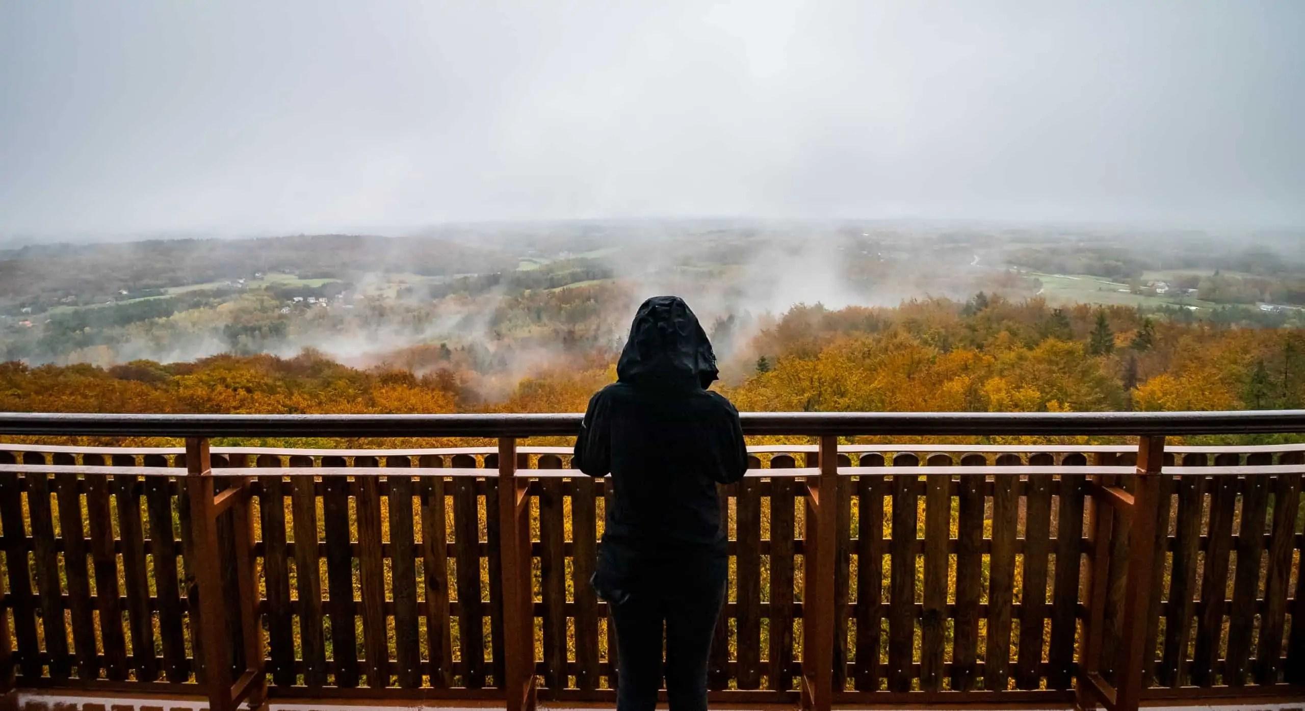 Jesienny portret wie%C5%BCyca krajobraz widoku kaszubskich las%C3%B3w - Fotografie do druku