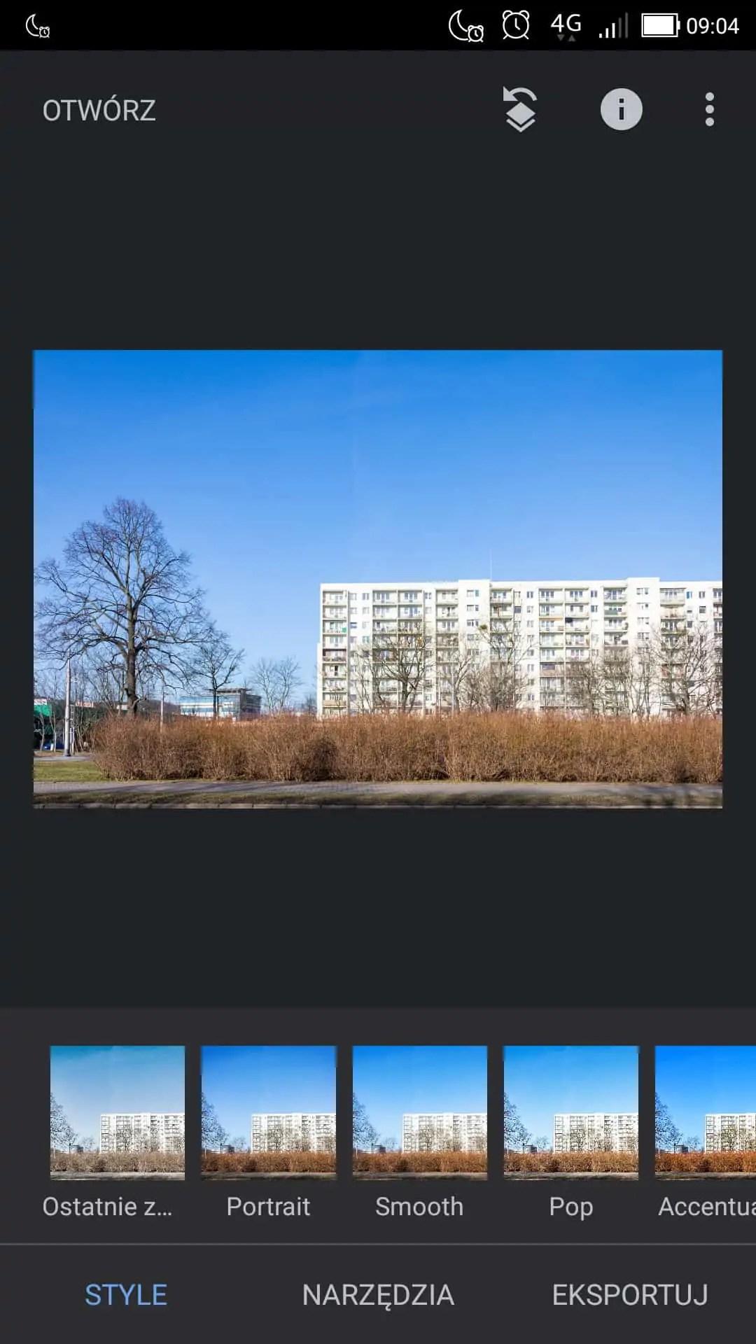 menu filtrów i presetów - Snapseed apka do zdjęć dla każdego
