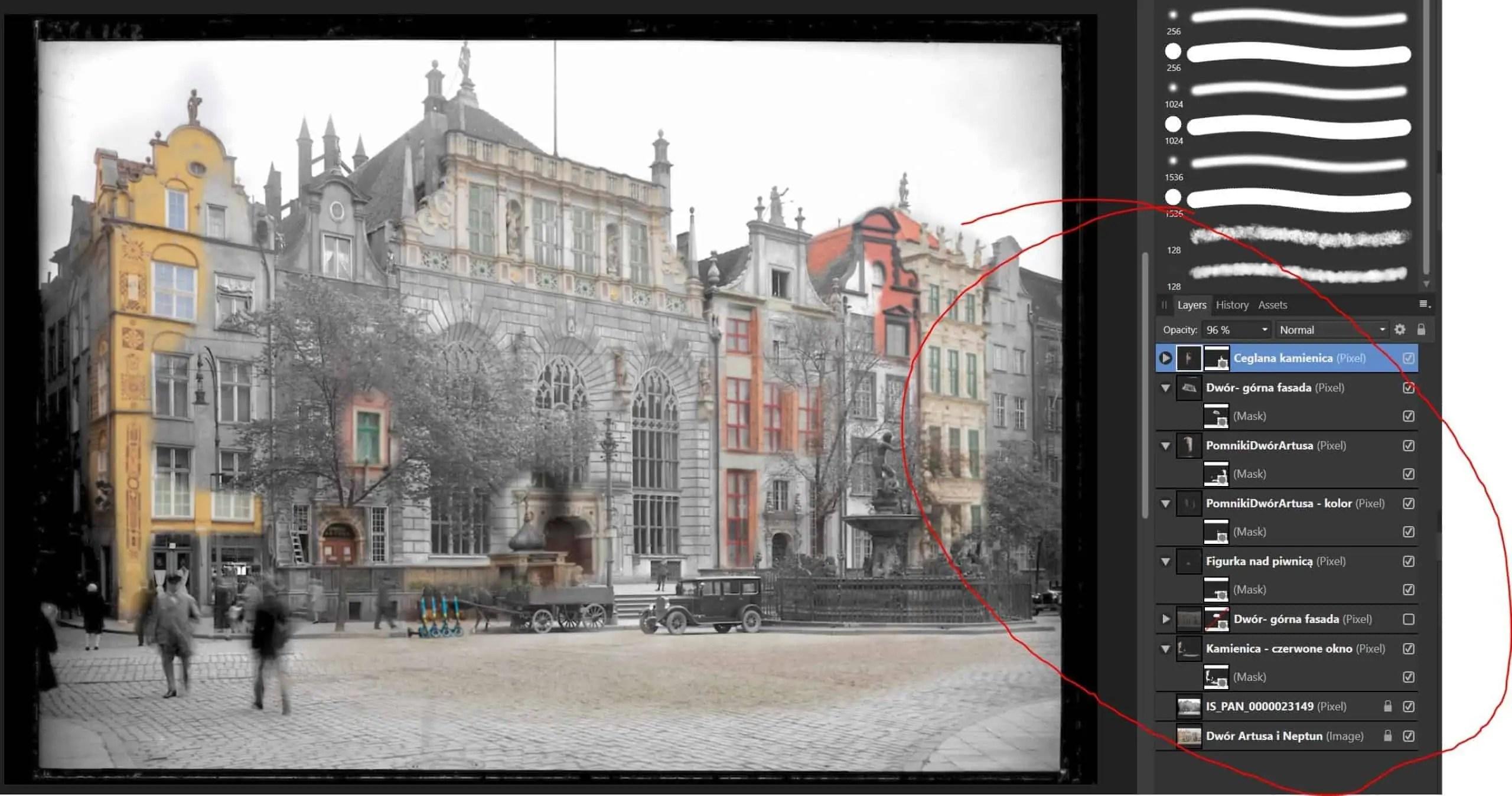 Warstwy poszczegolnych elementow Gdansk kiedys i dzis ulica Dluga Dwor Artusa i Neptun - Zdjęcia starego Gdańska. Kompozycja w 5 prostych krokach !