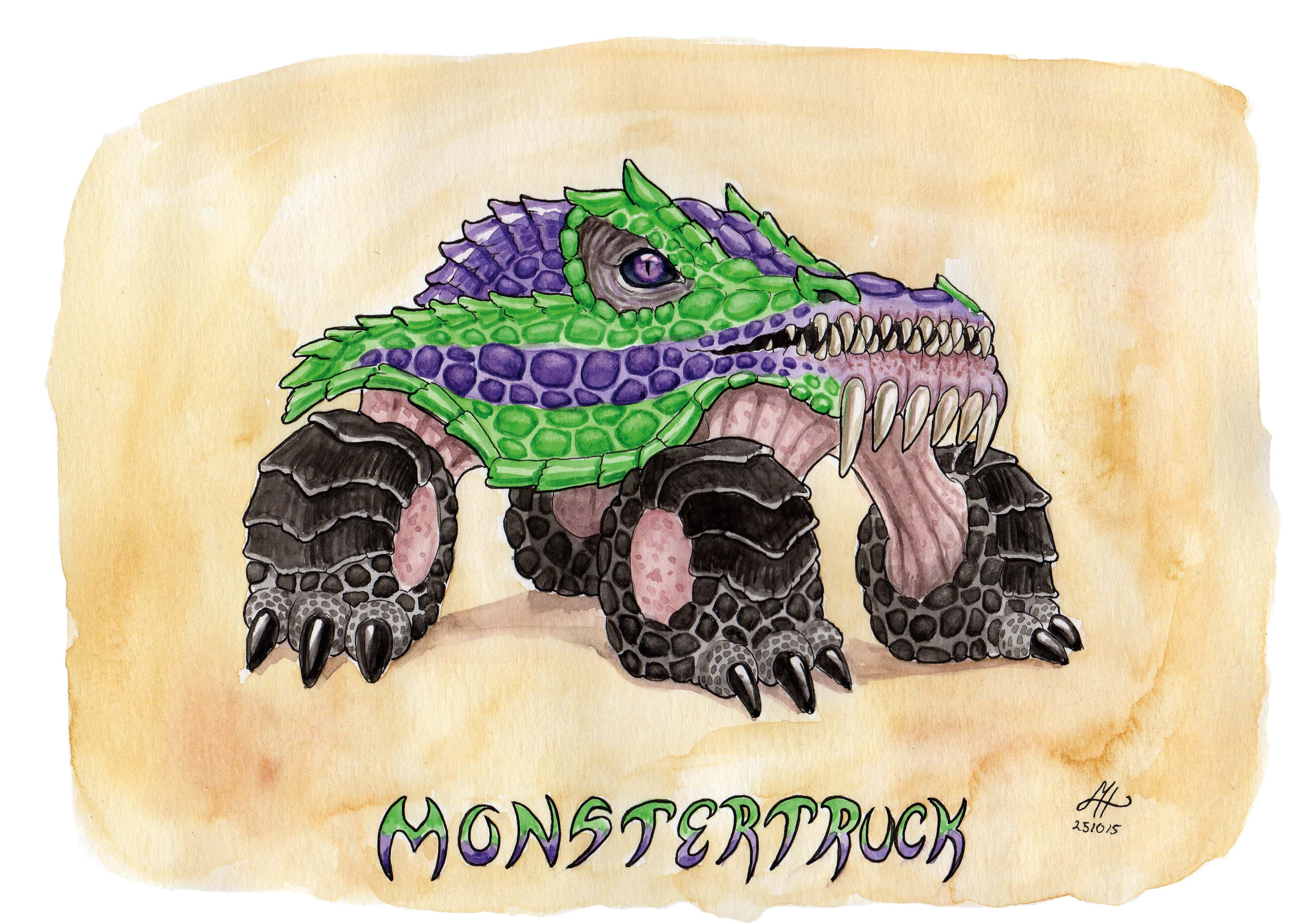 monstertruck ordvits illustration