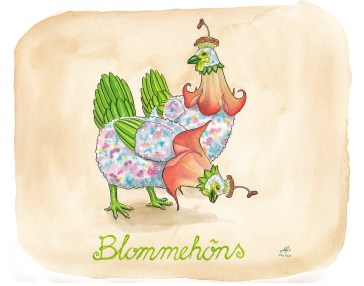 blommehöna illustration ordvits