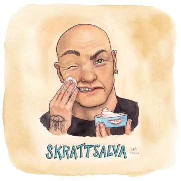 skrattsalva illustration ordvits