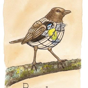 burfågel illustration ordvits