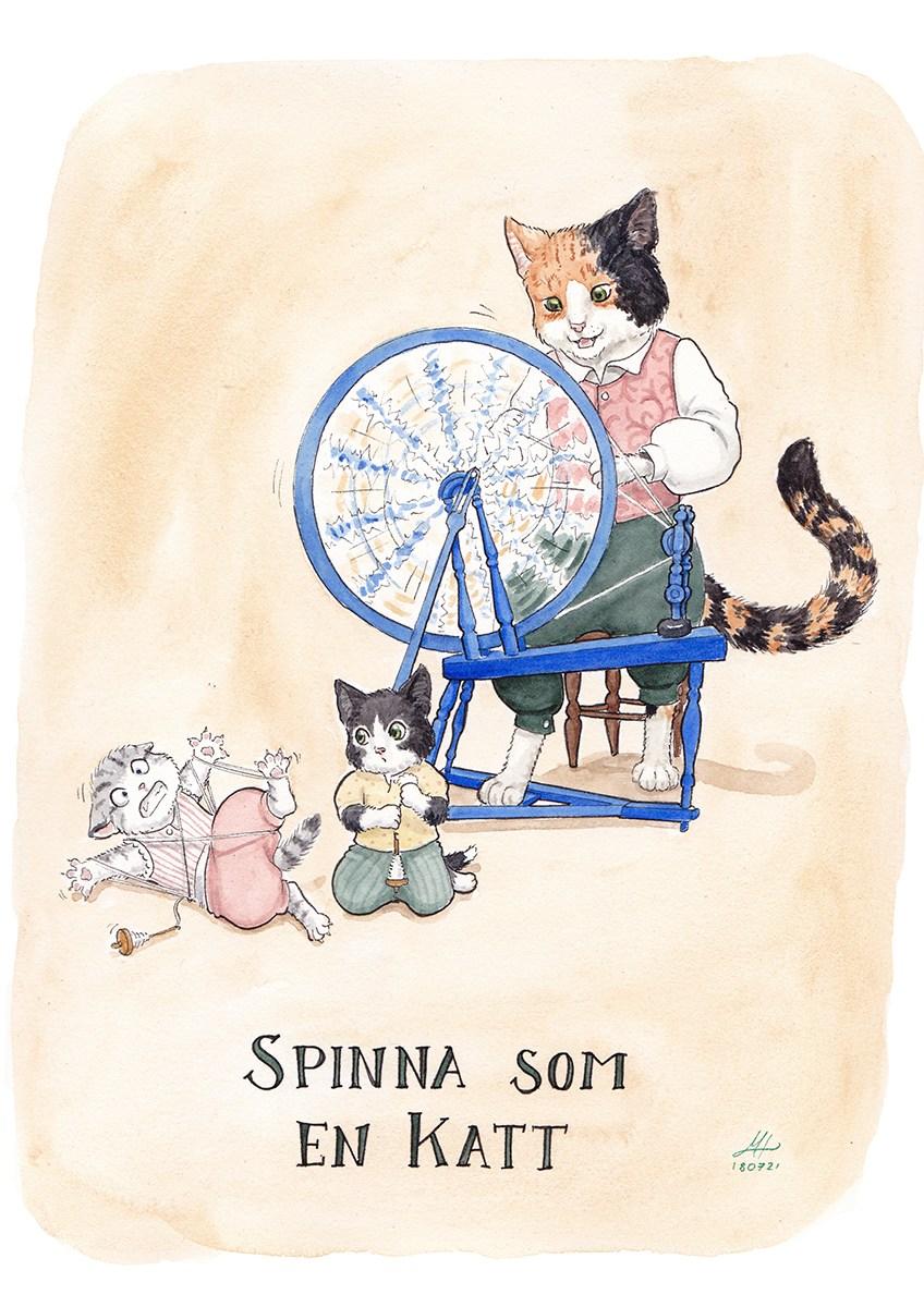 spinna som en katt illustration ordvits