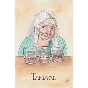 Bokstavligt målat vykort tandval