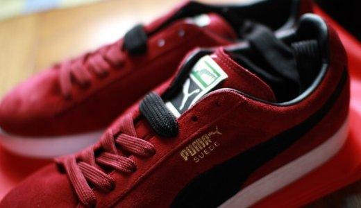 踵に穴が空いたプーマの靴を『シューグー』で補修して延命する