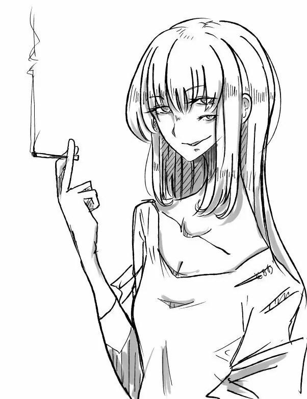 タバコを吸う複眼女性