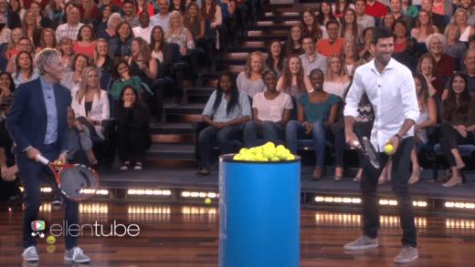 A cara de Novak Djokovic foi esmagada no The Ellen Show