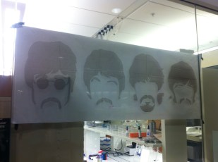 Beatles drawing above Max's desk in the WID