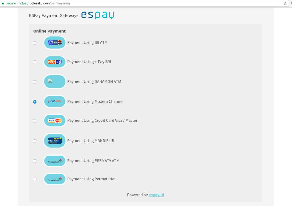 Pilihan metode pembayaran EsPay