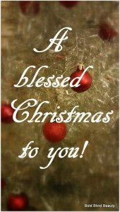 A blessed Christmas to you! (Image is a close up of a miniature silver artificial Christmas tree with miniature red bulbs)