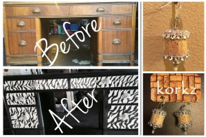 Before and after photo of zebra print hand painted furniture and cork earrings designed with bling