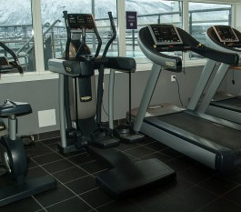 Stationary bike, elliptical machine and a treadmill at a gym in front of windows. Starting an exercise program can lead to healthier habits.