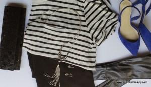 Striped Tee, Black Skirt, Cobalt Blue Slingbacks, Black Embellished Clutch, Fringed Pendant Necklace, Dangling Earrings & Black Obi Belt