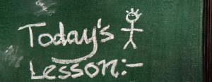 """Todays Lesson"" written on a chalkboard"