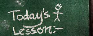 """Todays Lesson"" written on a chalkboard"