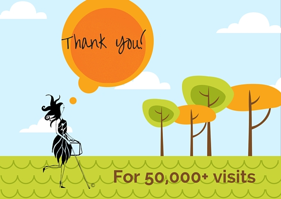 "Orange & green trees, orange sun in a blue sky with white clouds and green grass. Abigail is walking in the grass and the sun is a speech bubble that says: Thank You! At the bottom of the image is ""For 50,000 visits"""