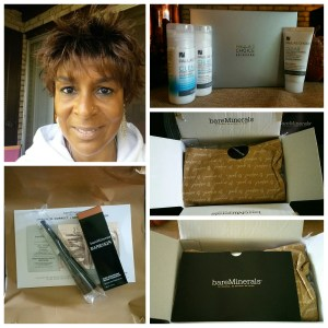 Collage including a photo of my face, Paula's Choice Clear Regular Strength kit, BareMinerals BareSkin Makeup.