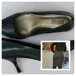A larger image of the gray shoes with black heels and a smaller rear view image of me standing.