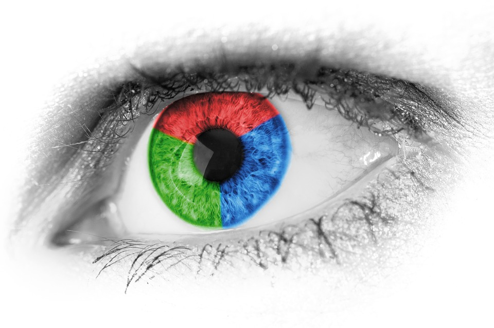 Vanity & Vision Loss Image is a single eye with a blue, red and green color wheel covering the iris.