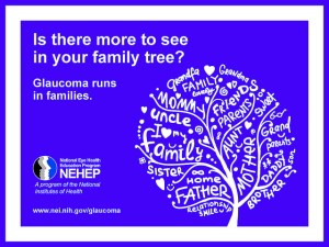 NEI/NIH Info card: Is there more to see in your family tree? Glaucoma runs in families.