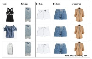 15 square grid with 3 tops vertically and each of the bottoms are matched with each of the tops and the blazer. For example row 1 tank top, midi skirt, white shorts, blue shorts, blazer; Rows two and three are the same except the tops are different.