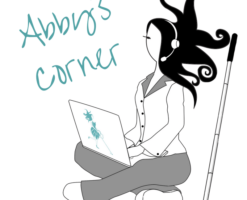 Abby is sitting cross legged in her PJs (gray bottoms & white top with a gray collar) with a teal Abby logo laptop on her lap. Sporting her signature explosive hairstyle, she is wearing a headset with microphone and her white cane is propped up next to her.