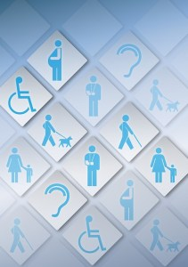 Collage of icons representing a range of disabilities, pregnancy, mother & child, arm in cast.