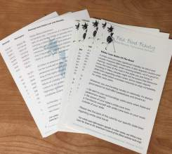 Several White Cane Rules of the Road cards spread out on a table