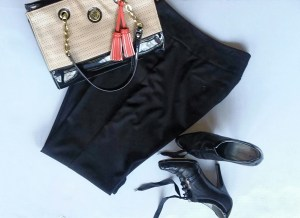 Interview Attire: Black Dress Pants; Tan & Black Tote Bag w/Gold Accents & Orange Tassel; Black Oxford Heels