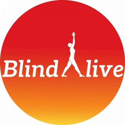 "Image is BlindAlive's logo a red/orange circle with the word BlindAlive. The ""A"" in Alive is a symbol of a person with legs stretched out in an ""A"" formation as they reach up with outstretched arms."