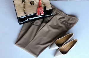 Interview Attire: Tan Dress Pants; Tan & Black Tote Bag w/Gold Accents & Orange Tassel; Cream Pumps
