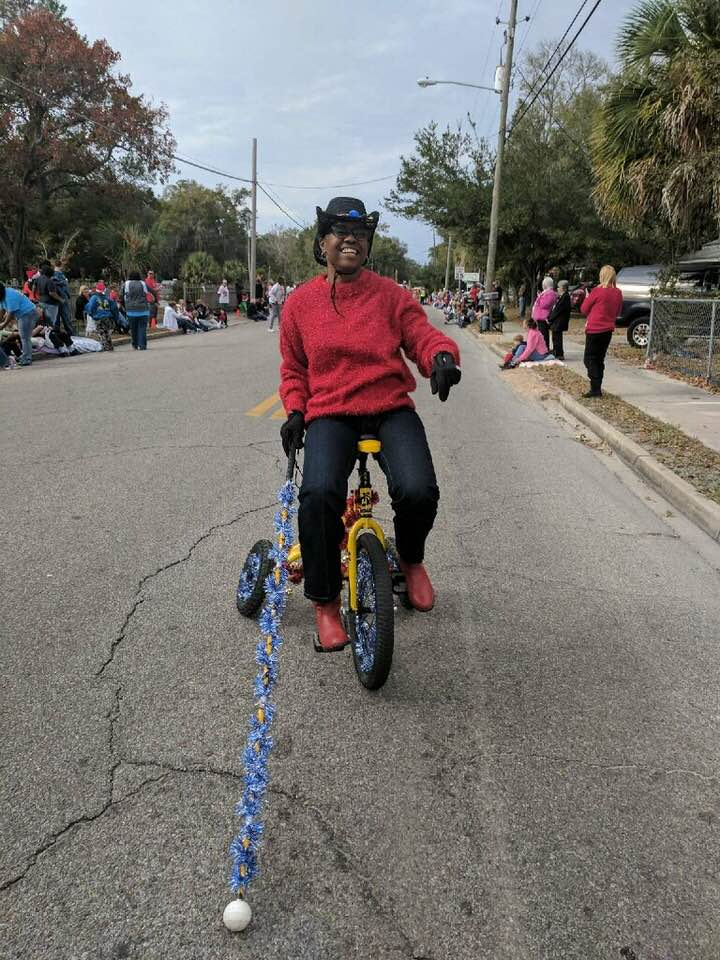Riding Cyco Cycle in the Parade