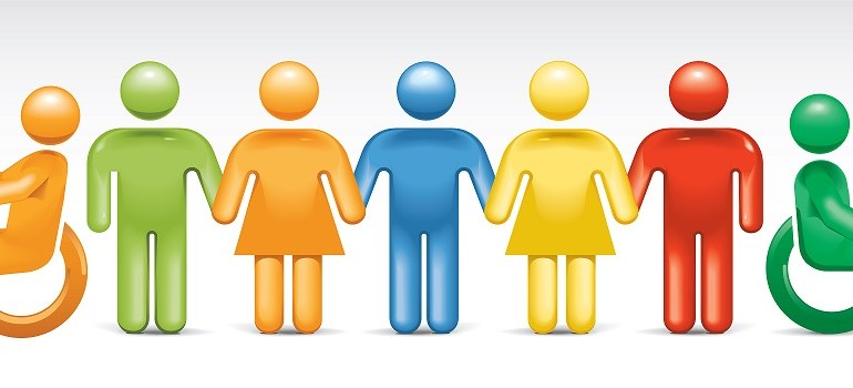 An illustration of an assortment of 7 multicolored human symbols. Two on opposite ends are wheelchair users.