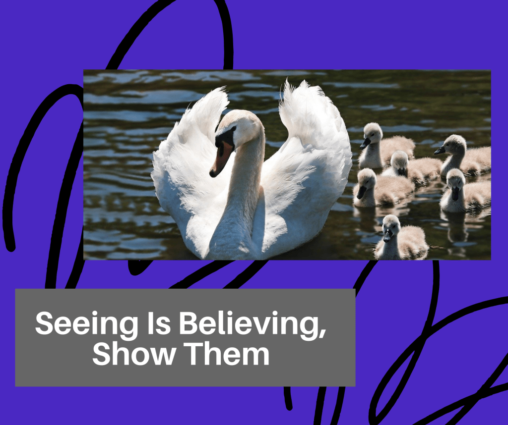 "CoVid-19 TOTD #10: Children: The photo is of a mama swan in the water with several of her babies. Text overlaid reads ""Seeing is believing, show them"""