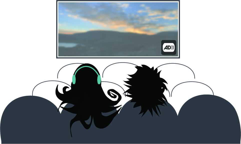 Illustration of Bold Blind Beauty's fashion icon Abby and a friend at the theater watching a movie. The movie screen has a sunset with the audio description symbol (a square image with black letters AD followed by a few end parentheses, suggesting a sound wave, are framed by a black television set shape) in the lower right corner. Abby's explosive black hair is smoothed back so she can wear her teal-colored headphones.