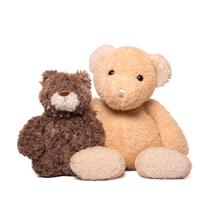 Two Teddy bears hugging isolated on a white background.