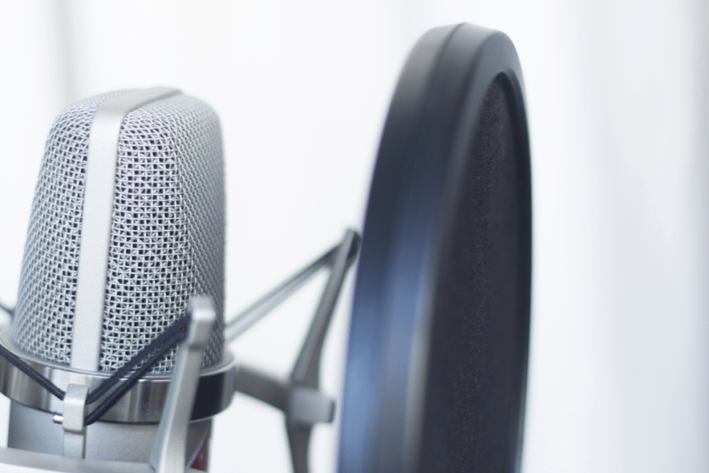 Closeup of a large-diaphragm condenser studio recording voice microphone to record professional voiceovers.