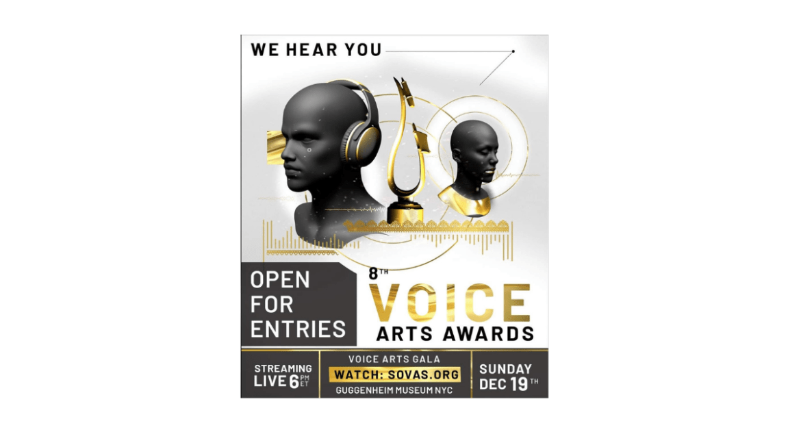 """A genderless bust wearing gold and dark gray headphones, a teardrop-shaped golden statue — an artistic rendition of a microphone and pop filter atop a round base. Above text reads """"WE HEAR YOU."""" Below the text says """"Open For Entries 