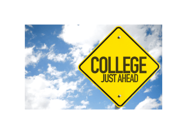 """A Yellow """"College Just Ahead"""" sign with a blue sky background dotted with puffy white clouds."""