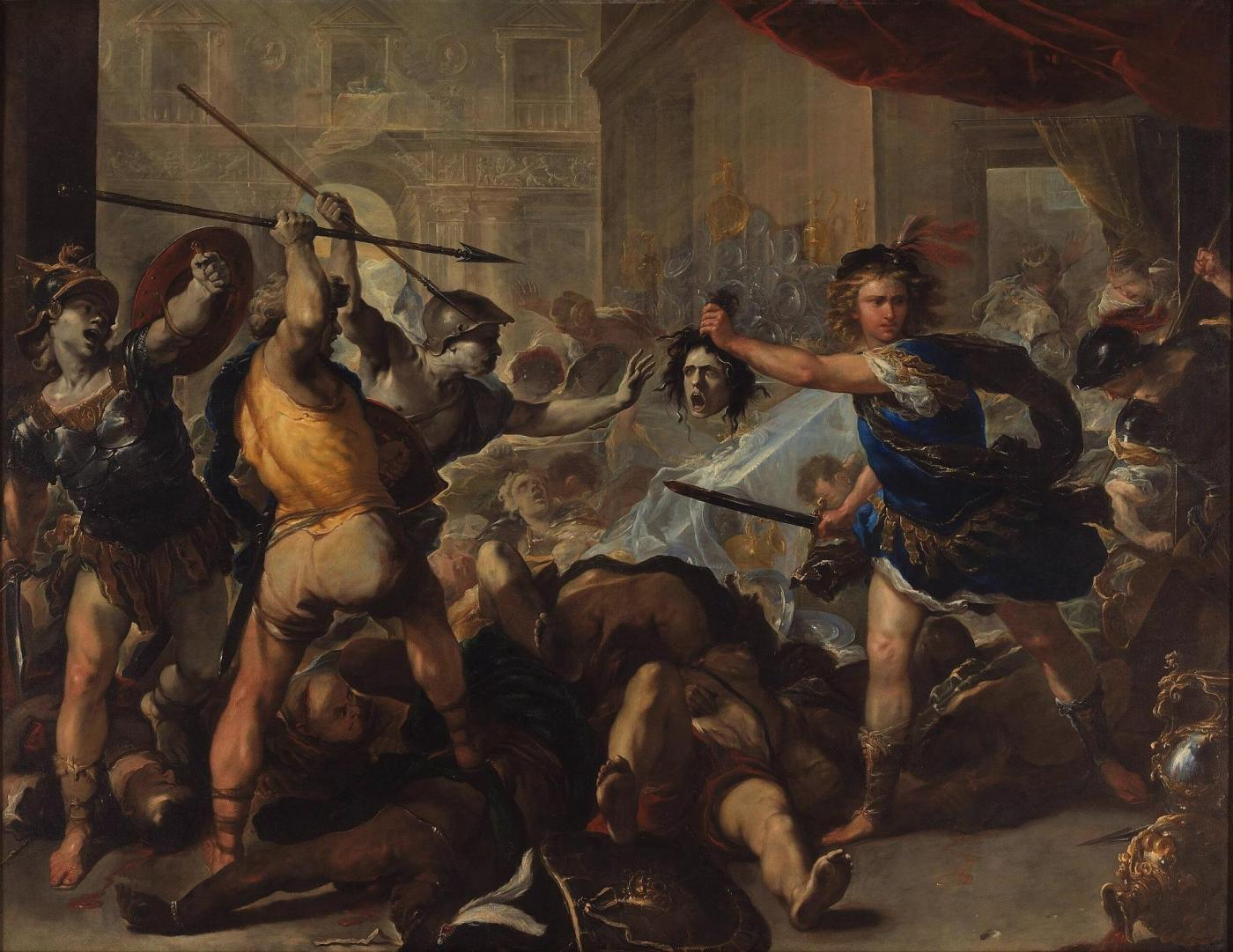 luca giordano perseus turning phineas and his followers to stone