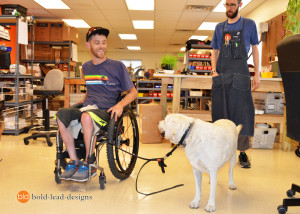 Kirk and Bella are having a new custom wheelchair lead made, Josh is working on the design.