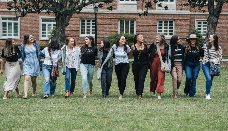 Group photo of New Hope Girls women on Radford University campus