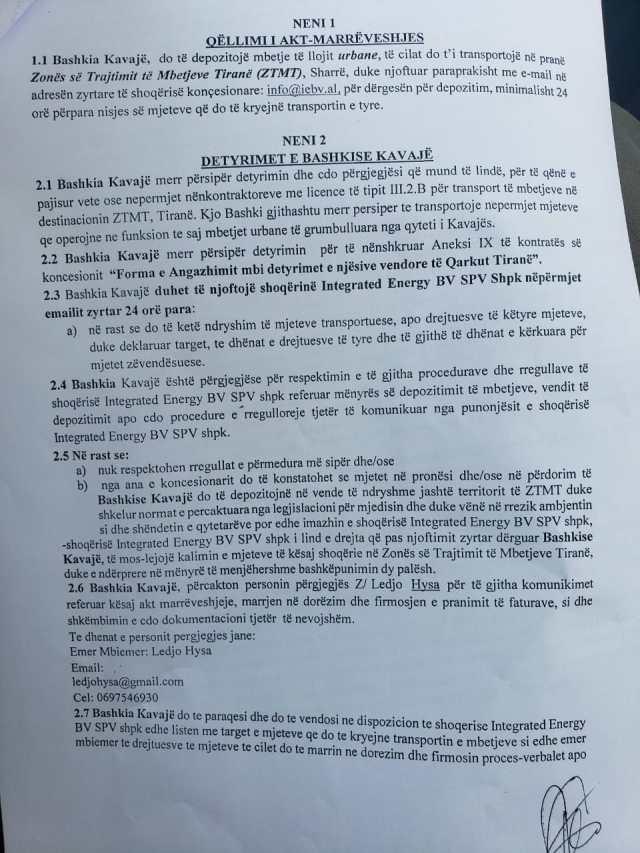 Faksimile: Marrëveshja mes Bashkisë së Kavajës dhe Landfillit të Sharrëa