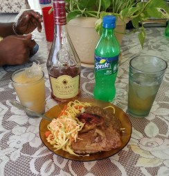 local juice (guava), meat, chow mein, etc.